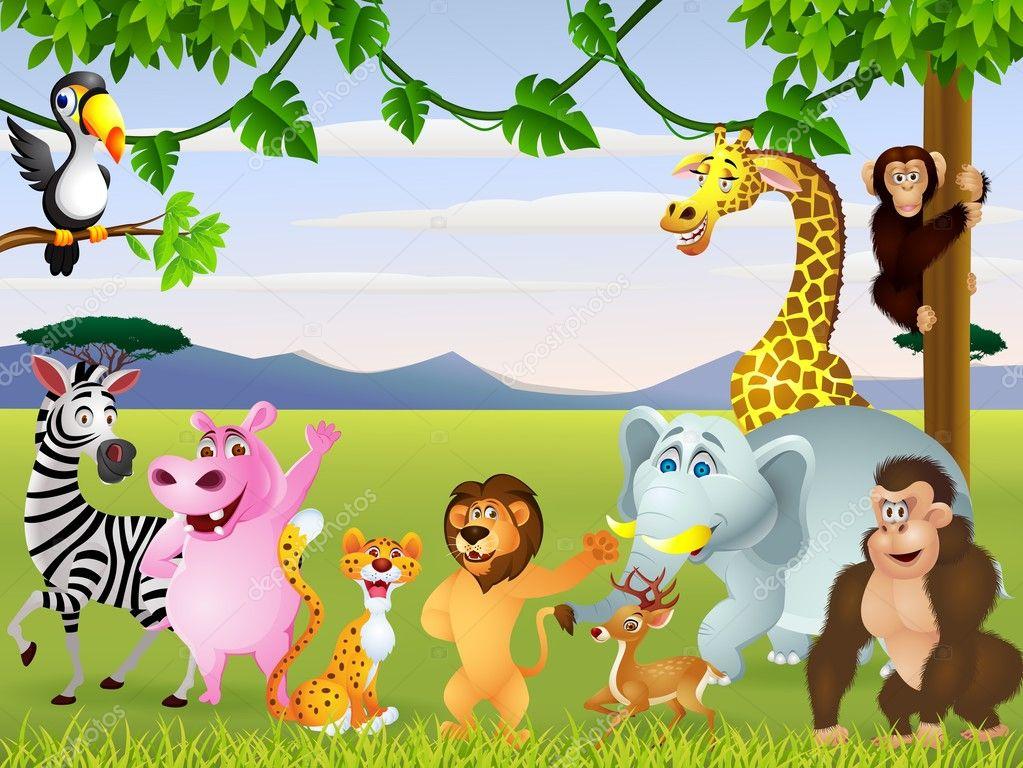 有趣的野生动物园动物卡通 — 图库矢量图像© idesign2000 #11907504