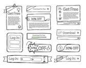Sketchy web set doodle — Stock Vector