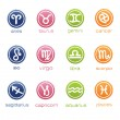 Colorful horoscope signs in badge form - Stock Vector