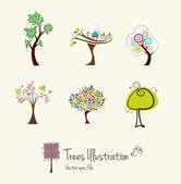 Tree art illustrations — Stock Vector