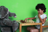 Chess with toy friend — Stock Photo