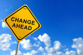 Change ahead sign on bluesky — Foto Stock