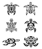 Turtle Tattoo Set — Stock Vector