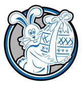Rabbit Easter Circle Mascot — Vettoriale Stock