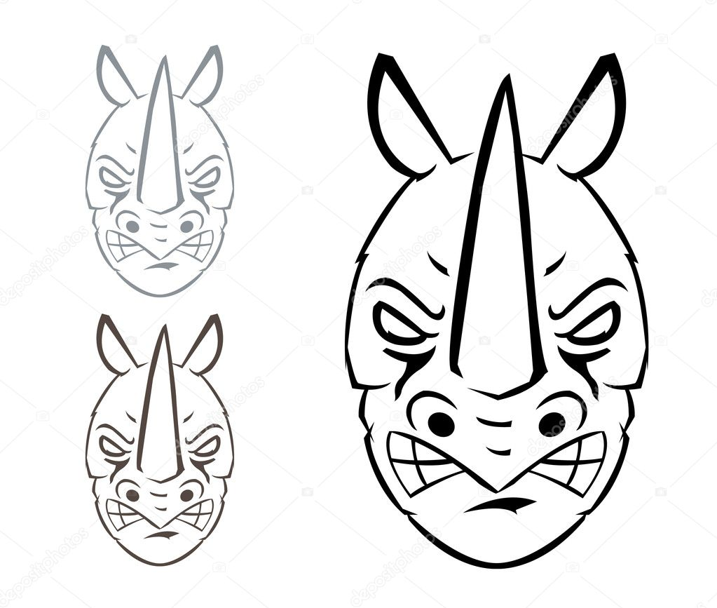 Drawing Lines In Rhino : Rhino mascot — stock vector