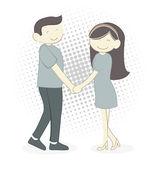 夫妇给的微笑 — 图库矢量图片