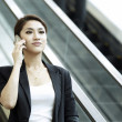 Stock Photo: AsiBusiness womusing Cell Phone