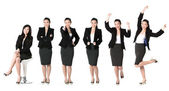 6 full length portraits of businesswoman — Stock Photo