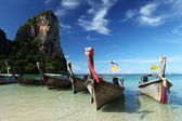 Longtail boat on a Thai Beach, Krabi — Stock Photo