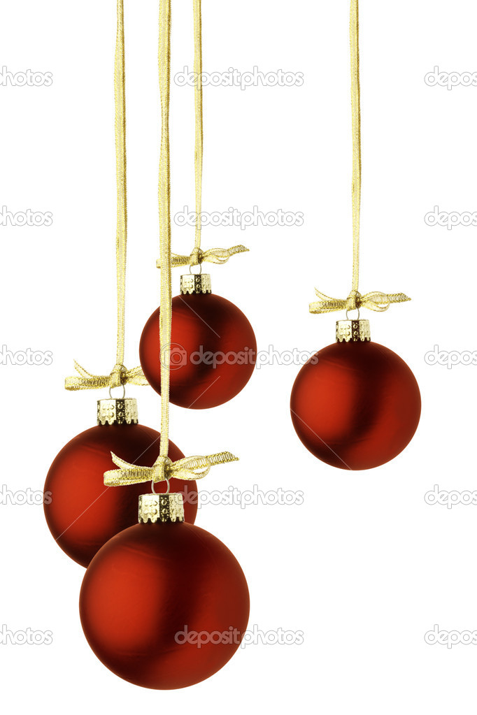 Red christmas balls hanging by gold ribbon, isolated over white  Stock Photo #12003667
