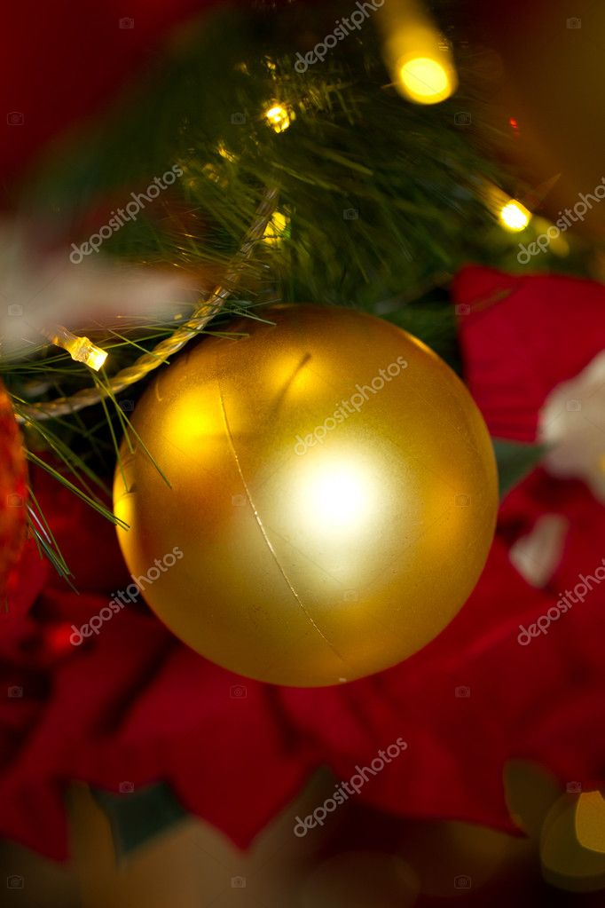 Christmas decorations. A Bauble hanging from a tree.  Stock Photo #12003678