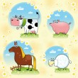 Funny farm animals. — Stock Vector