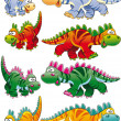 Types of dinosaurs. — Stock Vector