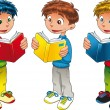 Three boys are reading. — Stockvector #10956777