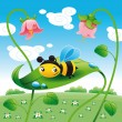 Bee on the leaf leaf. — Stock Vector #10956980