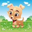 Royalty-Free Stock Vector Image: Baby dog in the meadow.