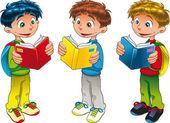 Drie jongens aan het lezen bent. — Stockvector