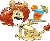 Leão com bebida. — Vetor de Stock
