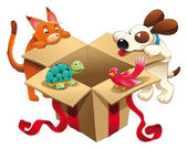 Gift and pets. — Stock Vector