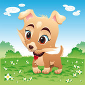 Baby dog in the meadow. — Stock Vector