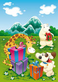 Animals and gifts with background. — Stock Vector