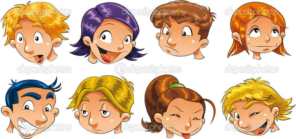 Expressions of children. Cartoon vector isolated characters.  Stock Vector #10956752