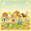 Farm Family. — Stock Vector