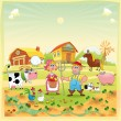 Stock Vector: Farm Family.