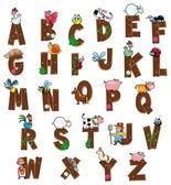 Alphabet avec des animaux et des agriculteurs. — Vecteur