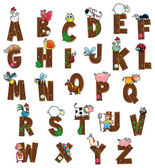 Alphabet with animals and farmers. — Vector de stock