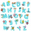 Alphabet with fish and bubbles. — Stock Vector