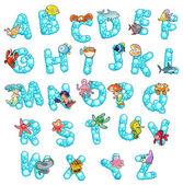 Alfabeto con peces y burbujas. — Vector de stock