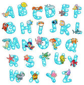 Alphabet with fish and bubbles. — Vector de stock