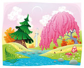 Fantasy landscape on the riverside. — Stock Vector
