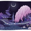 Stock Vector: Fantasy nightly landscape on riverside.