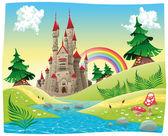 Panorama com castelo. — Vetorial Stock