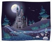 Panorama nocturno com castelo. — Vetorial Stock