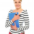 Smiling lady posing with pen and notepad — Stock Photo