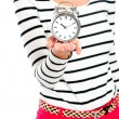 Cropped image of a woman holding alarm clock — Stock Photo