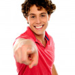 Handsome curly hair teen pointing at you — Stock Photo #10776020