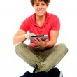 Portrait of a boy using a tablet computer — Stock Photo