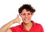 Boy posing with heart shape eye-wear — Stock Photo