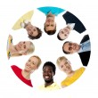 Circle shaped collage with diversified — Stock Photo