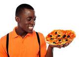 Hey lets enjoy some yummy pizza — Stock Photo