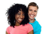 Couple smiling with joy. Hugging in love — Stock Photo