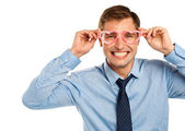 Man wearing heart shaped eye wear — Stock Photo