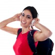 Trendy casual girl listening to music — Stock Photo