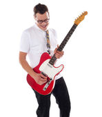 Smart rock guitar player at his best — Stock Photo