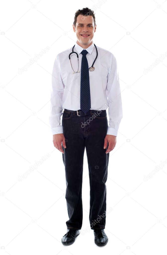 Confident medical male representative isolated over white background. Full length shot — Lizenzfreies Foto #11175573