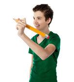 Smiling boy making imaginary drawing — Stock Photo